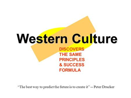 "Western Culture DISCOVERS THE SAME PRINCIPLES & SUCCESS FORMULA ""The best way to predict the future is to create it"" -- Peter Drucker."