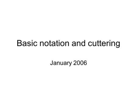 Basic notation and cuttering January 2006. Overview Call number = class number + item number Class number –alphanumeric –taken or derived from schedules.