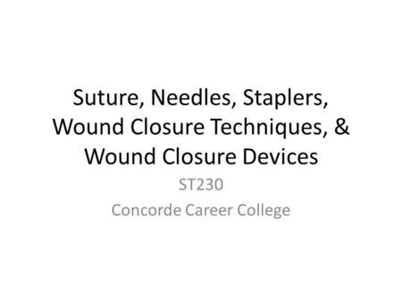ST230 Concorde Career College