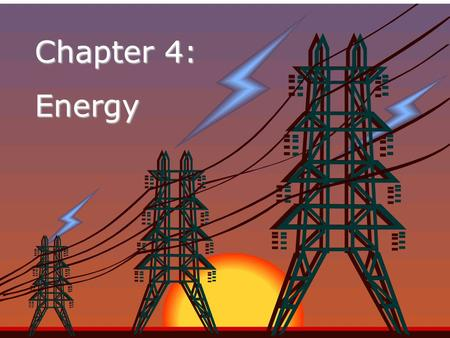 Chapter 4: Energy. Nature of Energy Energy is all around you! –Y–You can hear energy as sound. –Y–You can see energy as light. –A–And you can feel it.