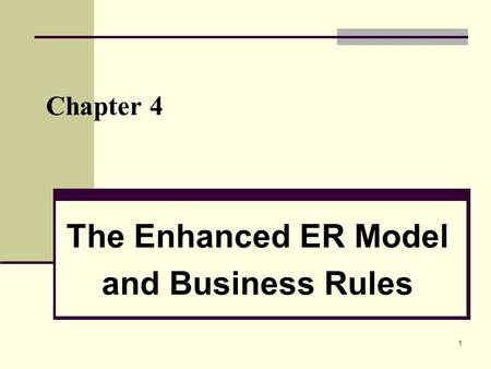 1 Chapter 4 The Enhanced ER Model and Business Rules.