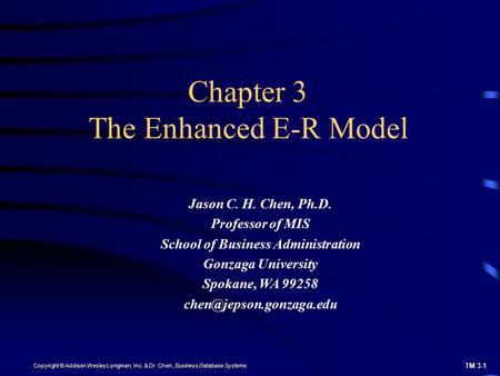 Chapter 3 The Enhanced E-R Model