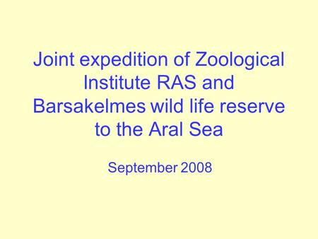 Joint expedition of Zoological Institute RAS and Barsakelmes wild life reserve to the Aral Sea September 2008.
