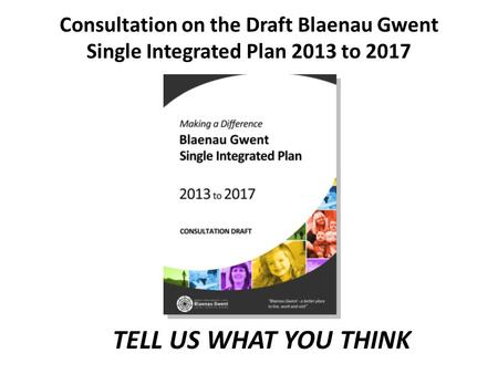 TELL US WHAT YOU THINK Consultation on the Draft Blaenau Gwent Single Integrated Plan 2013 to 2017.