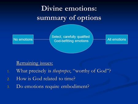 "Divine emotions: summary of options Remaining issues: 1. What precisely is theoprepes, ""worthy of God""? 2. How is God related to time? 3. Do emotions require."