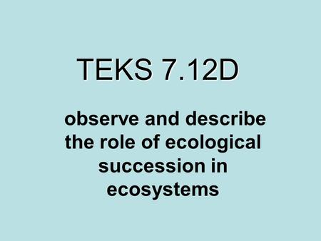 TEKS 7.12D observe and describe the role of ecological succession in ecosystems.