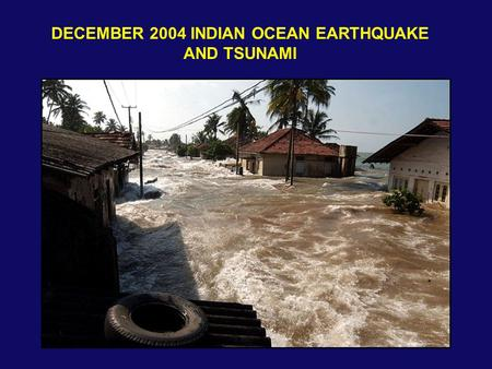 DECEMBER 2004 INDIAN OCEAN EARTHQUAKE AND TSUNAMI.