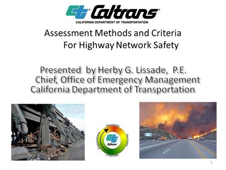 Assessment Methods and Criteria For Highway Network Safety 1.