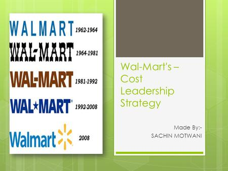 Wal-Mart's – Cost Leadership Strategy Made By:- SACHIN MOTWANI.