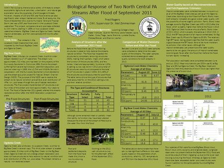 Biological Response of Two North Central PA Streams After Flood of September 2011 Fred Rogers CWI, Supervisor Dr. Mel Zimmerman Introduction: Within Pennsylvania,