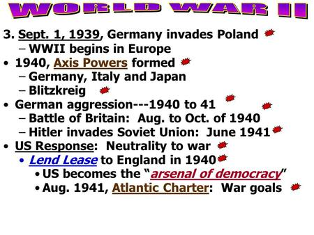 3. Sept. 1, 1939, Germany invades Poland –WWII begins in Europe 1940, Axis Powers formed –Germany, Italy and Japan –Blitzkreig German aggression---1940.