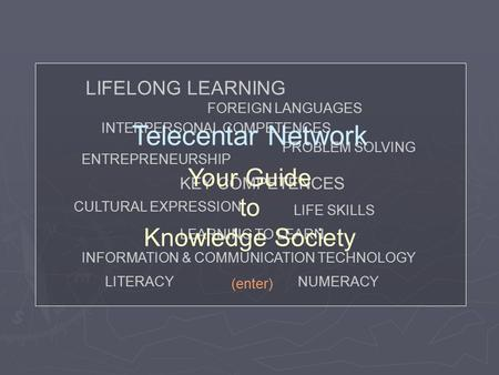 KEY COMPETENCES LIFELONG LEARNING LITERACYNUMERACY FOREIGN LANGUAGES CULTURAL EXPRESSION INTERPERSONAL COMPETENCES INFORMATION & COMMUNICATION TECHNOLOGY.