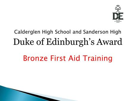 Calderglen High School and Sanderson High Duke of Edinburgh's Award Bronze First Aid Training.