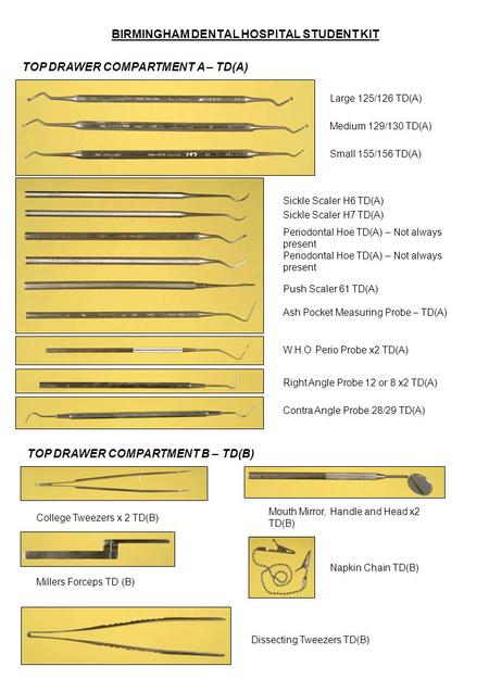 BIRMINGHAM DENTAL HOSPITAL STUDENT KIT TOP DRAWER COMPARTMENT A – TD(A) Large 125/126 TD(A) Medium 129/130 TD(A) Small 155/156 TD(A) Ash Pocket Measuring.