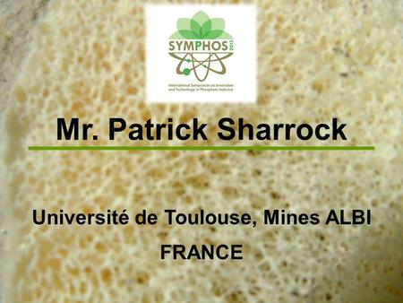 Mr. Patrick Sharrock Université de Toulouse, Mines ALBI FRANCE.