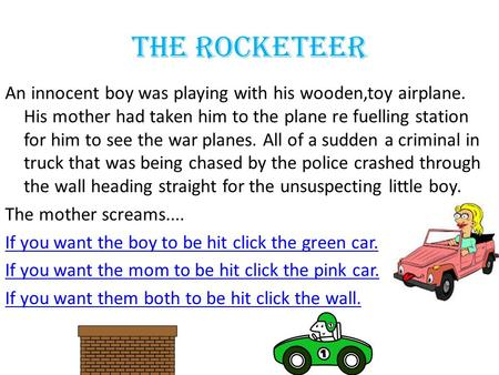 The Rocketeer An innocent boy was playing with his wooden,toy airplane. His mother had taken him to the plane re fuelling station for him to see the war.
