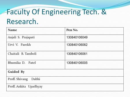 Faculty Of Engineering Tech. & Research. NamePen No. Anjali S. Prajapati 130840106049 Urvi V. Parekh 130840106062 Chaitali B. Tamboli 130840106061 Bhumika.