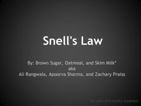 Snell's Law By: Brown Sugar, Oatmeal, and Skim Milk* aka Ali Rangwala, Apoorva Sharma, and Zachary Praiss *All parts of a healthy breakfast.