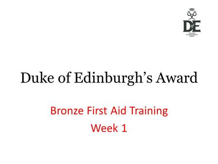 Duke of Edinburgh's Award Bronze First Aid Training Week 1.