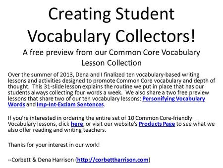 Creating Student Vocabulary Collectors