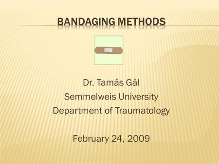 Dr. Tamás Gál Semmelweis University Department of Traumatology February 24, 2009.