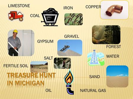 IRON NATURAL GAS OIL GRAVEL GYPSUM LIMESTONE WATER COPPER SALT SAND FERTILE SOIL COAL FOREST.