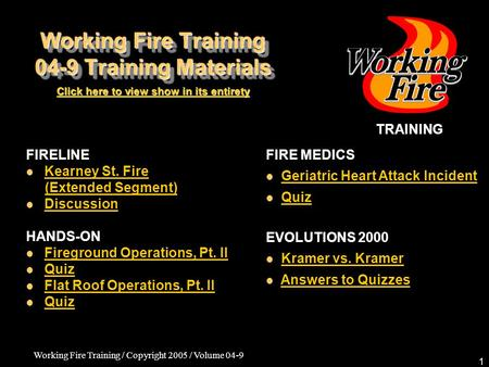 Working Fire Training / Copyright 2005 / Volume 04-9 1 Working Fire Training 04-9 Training Materials FIRELINE Kearney St. Fire (Extended Segment) Discussion.