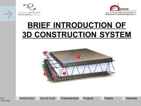 Peh/ 03.06.2004 IntroductionHow to buildCharacteristicsProjectsMaterialsDetails BRIEF INTRODUCTION OF 3D CONSTRUCTION SYSTEM.