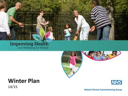 Winter Plan 14/15. Context Overview Walsall CCG's Winter Plan is an integral part of its overall Surge Plan which draws together a number of documents.