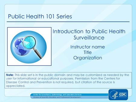 Introduction to Public Health Surveillance