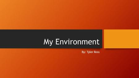 My Environment By: Tyler Ross. New Holland Three Things you Hate about your area School, Neighbors, Grass Three Things you Like about your are Friends,lunch,isparten.