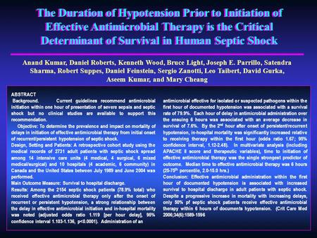 The Duration of Hypotension Prior to Initiation of Effective Antimicrobial Therapy is the Critical Determinant of Survival in Human Septic Shock Anand.