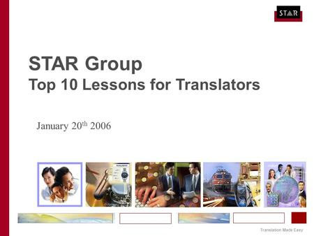 Translation Made Easy STAR Group Top 10 Lessons for Translators January 20 th 2006.