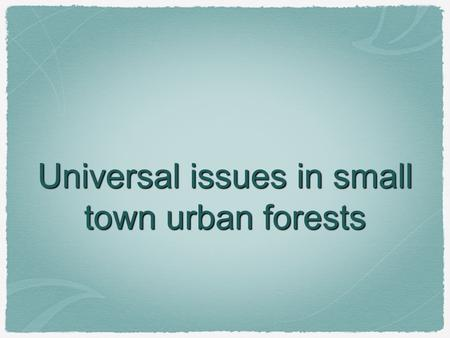 Universal issues in small town urban forests. Street Trees The average life of a street tree in a municipality is 7 years.
