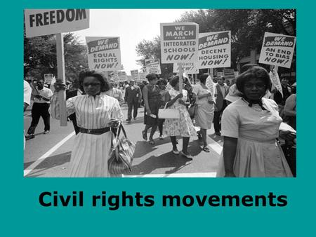 Civil rights movements. Introduction The civil rights movements in the USA took place in between 1954 and 1968, particularly in southern United states.