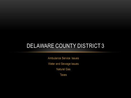 Ambulance Service Issues Water and Sewage Issues Natural Gas Taxes DELAWARE COUNTY DISTRICT 3.