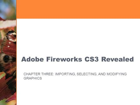 Adobe Fireworks CS3 Revealed CHAPTER THREE: IMPORTING, SELECTING, AND MODIFYING GRAPHICS.
