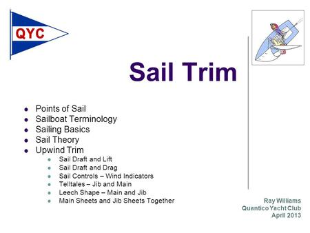 Sail Trim Points of Sail Sailboat Terminology Sailing Basics Sail Theory Upwind Trim Sail Draft and Lift Sail Draft and Drag Sail Controls – Wind Indicators.