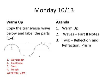 Monday 10/13 Warm Up Copy the transverse wave below and label the parts (1-4) Agenda 1.Warm Up 2. Waves – Part II Notes 3.Twig – Reflection and Refraction,