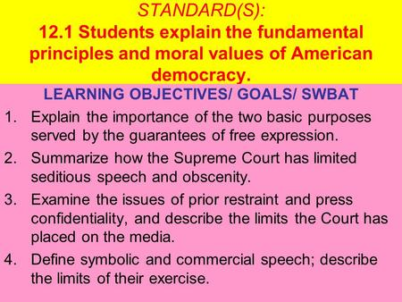 STANDARD(S): 12.1 Students explain the fundamental principles and moral values of American democracy. LEARNING OBJECTIVES/ GOALS/ SWBAT 1.Explain the importance.