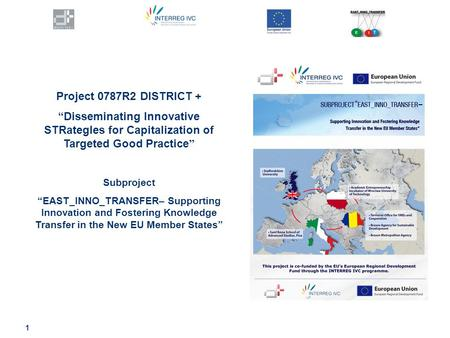 "1 Project 0787R2 DISTRICT + ""Disseminating Innovative STRategIes for Capitalization of Targeted Good Practice "" Subproject ""EAST_INNO_TRANSFER– Supporting."