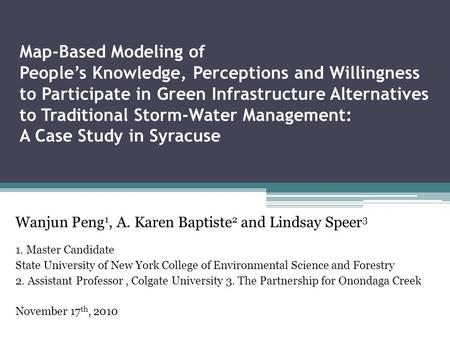 Map-Based Modeling of People's Knowledge, Perceptions and Willingness to Participate in Green Infrastructure Alternatives to Traditional Storm-Water Management: