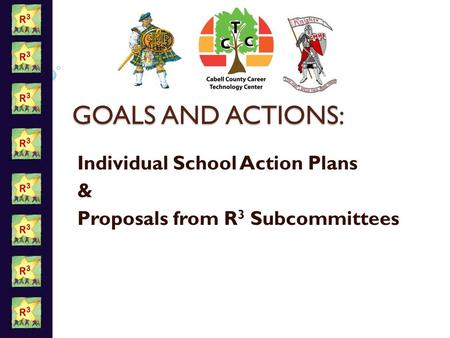 GOALS AND ACTIONS: Individual School Action Plans & Proposals from R 3 Subcommittees.