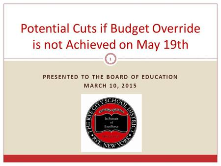 PRESENTED TO THE BOARD OF EDUCATION MARCH 10, 2015 1 Potential Cuts if Budget Override is not Achieved on May 19th.