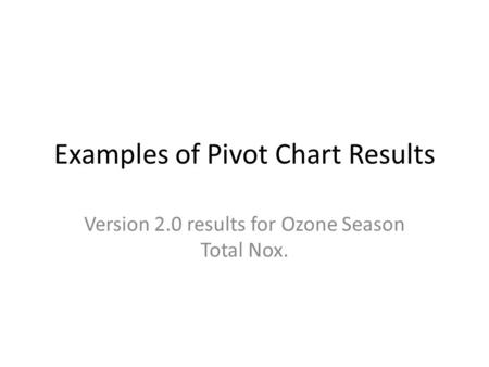 Examples of Pivot Chart Results Version 2.0 results for Ozone Season Total Nox.