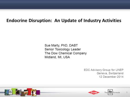 1 Endocrine Disruption: An Update of Industry Activities Sue Marty, PhD, DABT Senior Toxicology Leader The Dow Chemical Company Midland, MI, USA EDC Advisory.