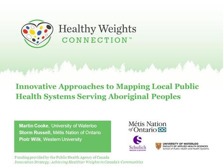 Innovative Approaches to Mapping Local Public Health Systems Serving Aboriginal Peoples Martin Cooke, University of Waterloo Storm Russell, Métis Nation.