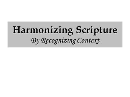 "Harmonizing Scripture By Recognizing Context. ""Thou Fool"" ""Thou Fool"" (Matthew 5:22) ""The fool hath said in his heart, There is no God"" (Ps. 53:1). ""Ye."