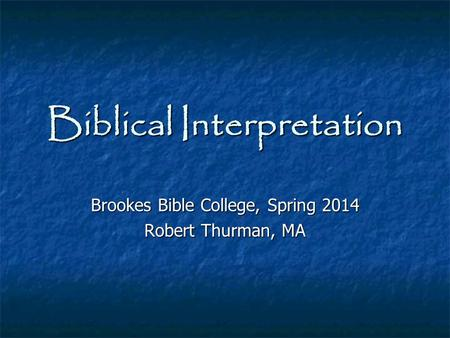 Biblical interpretation assignment