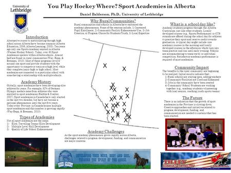 You Play Hockey Where? Sport Academies in Alberta Daniel Balderson, Ph.D., University of Lethbridge X X X X X X X X X X X X X X X X X X X X X X X X Introduction.